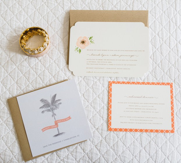 Invitation Suite | Peachy Pink Wedding in Historic Charleston | Priscilla Thomas Photography