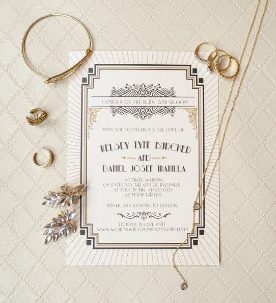 Invitation and Jewelry | 1920s Inspired Wedding | Priscilla Thomas Photography