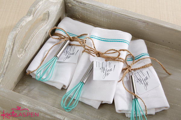 Kitchen Shower Favors Ideas from Kate Aspen | DIY Kitchen Bridal Shower Whisk and Towel Favors