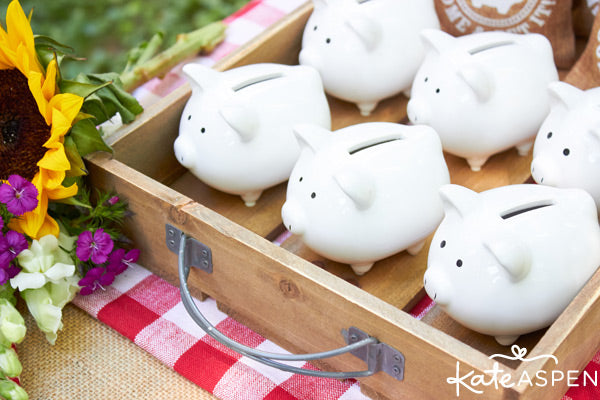 Baby-Q piggy bank favors from Kate Aspen