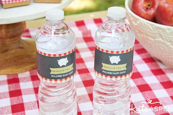 Personalized Baby-Q water bottle labels from Kate Aspen