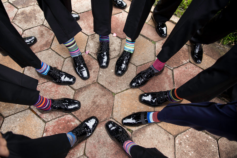 Funky Socks on the Groomsmen | Beautiful Outdoor Jewish Wedding | Kate Aspen