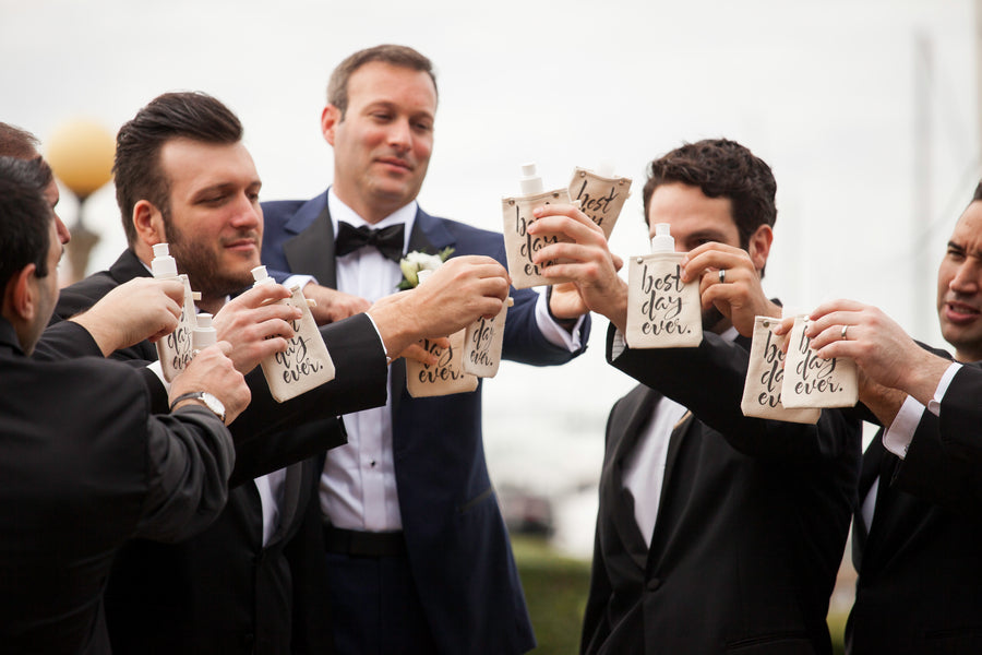 Groomsmen Toasting with Best Day Ever Flasks | Beautiful Outdoor Jewish Wedding | Kate Aspen