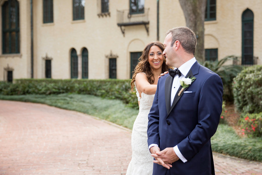 First Look | Beautiful Outdoor Jewish Wedding | Kate Aspen