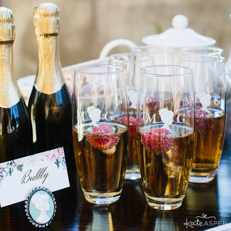 Customized Stemless Champagne Glasses | Cameo Place Card Holder | English Garden Bridal Shower | Kate Aspen