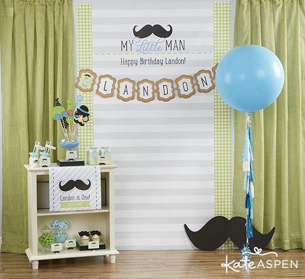 Little Man Themed Birthday Party | First Birthday | Kate Aspen | Photobooth Backdrop