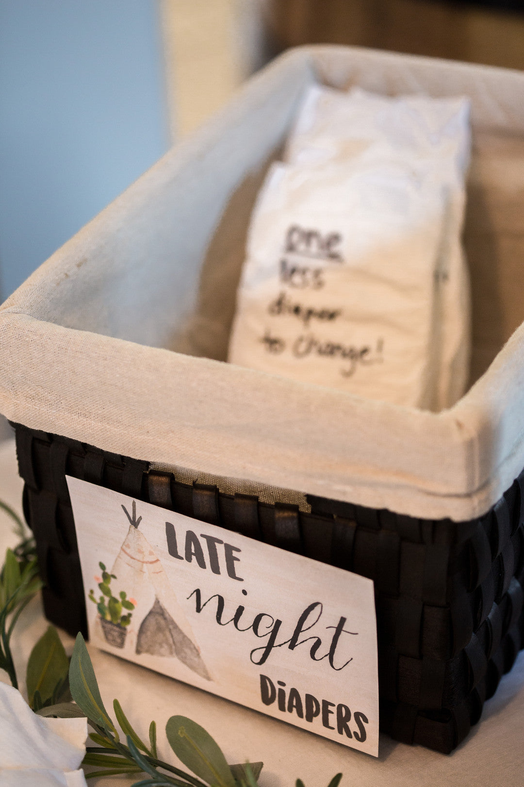 Late Night Diapers Basket | A Chic Desert Themed Baby Shower | Kate Aspen