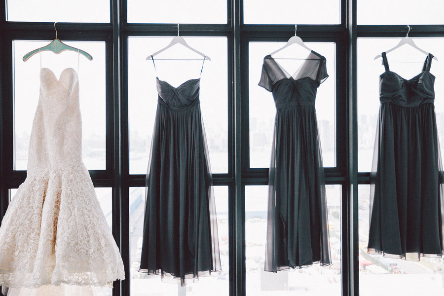 Bride's Mermaid Gown and Bridesmaids' Gray Dresses | Zorz Studios
