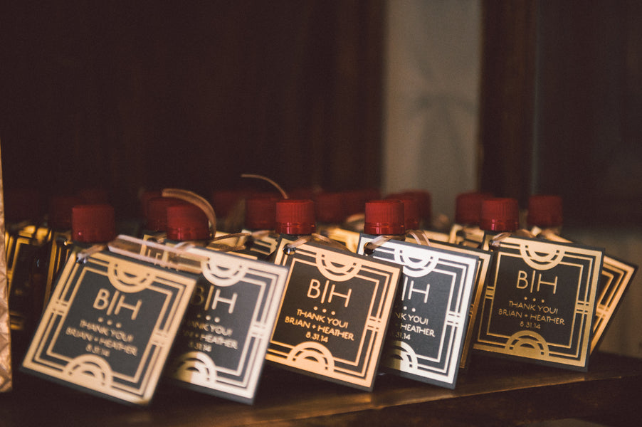SmallWhiskey Bottle Wedding Favors with Art Deco Tags | Zorz Studios