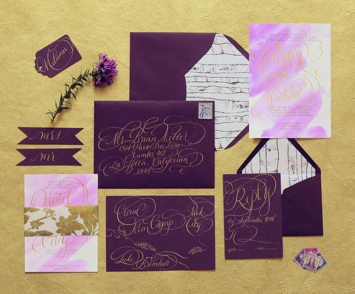 Deep purple wedding invitation suite | Pepper Nix Photography