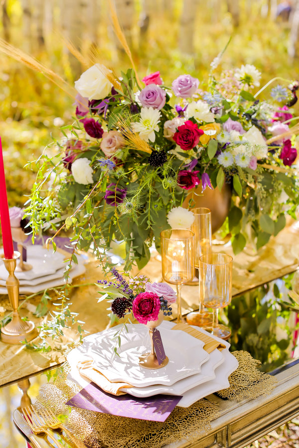 Beautiful fig, purple and pink flowers on table | Pepper Nix Photography