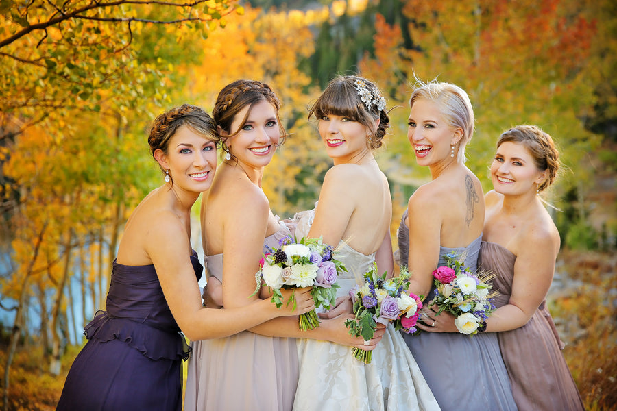 Bride posing with bridesmaids | Pepper Nix Photography