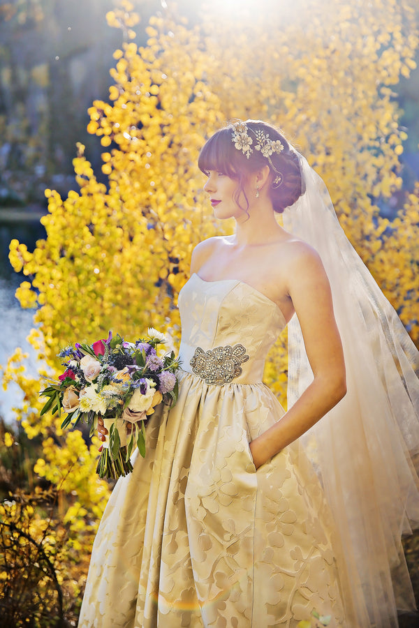 Bride posing in front of yellow tree  | Pepper Nix Photography
