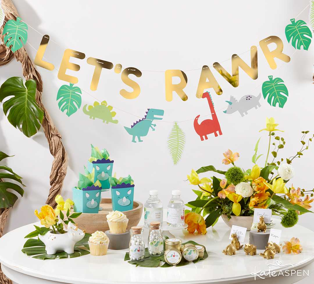 Dino Party Banner | A Roaring Dinosaur Birthday Party Set Up | Kate Aspen