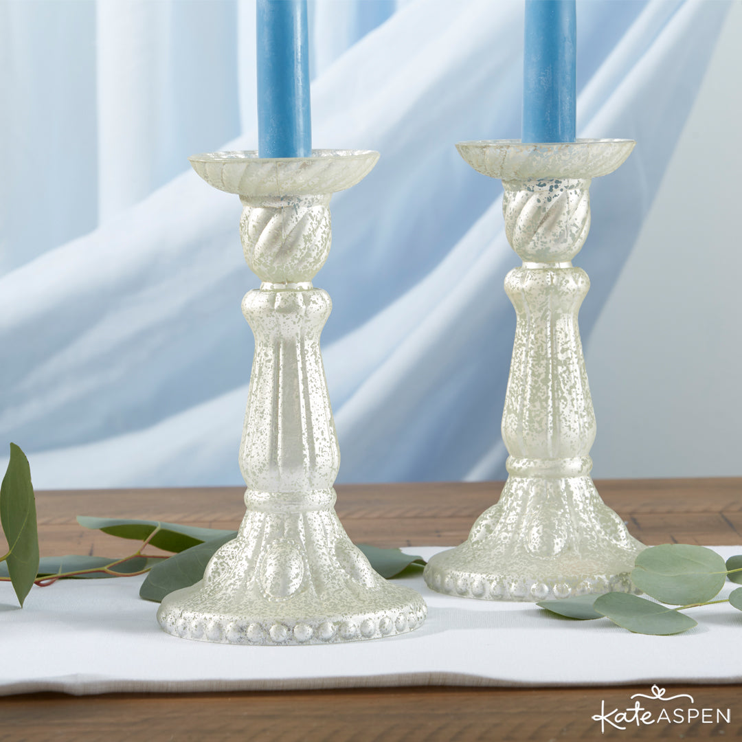 Light Gold Frosted Mercury Glass Candlesticks | 12 Must Have Accents for a Whimsical Wedding | Kate Aspen