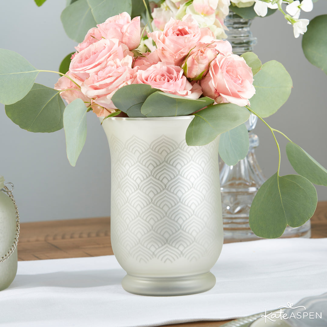 Light Gold Frosted and Etched Pattern Glass Vase | 12 Must Have Accents for a Whimsical Wedding | Kate Aspen