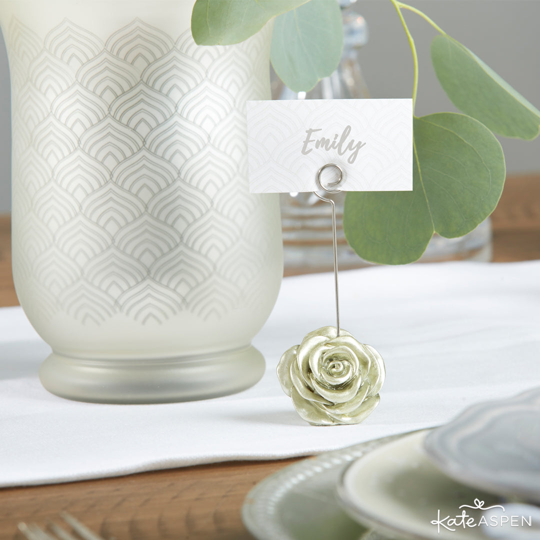 Light Gold Rose Place Card Holder | 12 Must Have Accents for a Whimsical Wedding | Kate Aspen