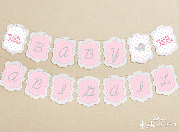Elephant Baby Shower Banner | Kate Aspen