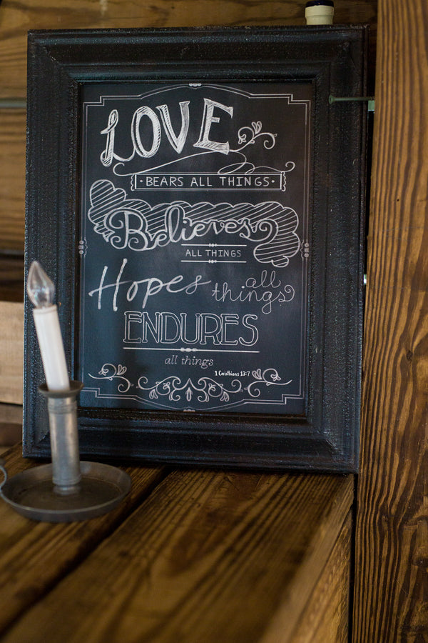 Love Bears All Things Quote | Whimsical Rustic Barn Wedding | McKenzie Stewart Weddings