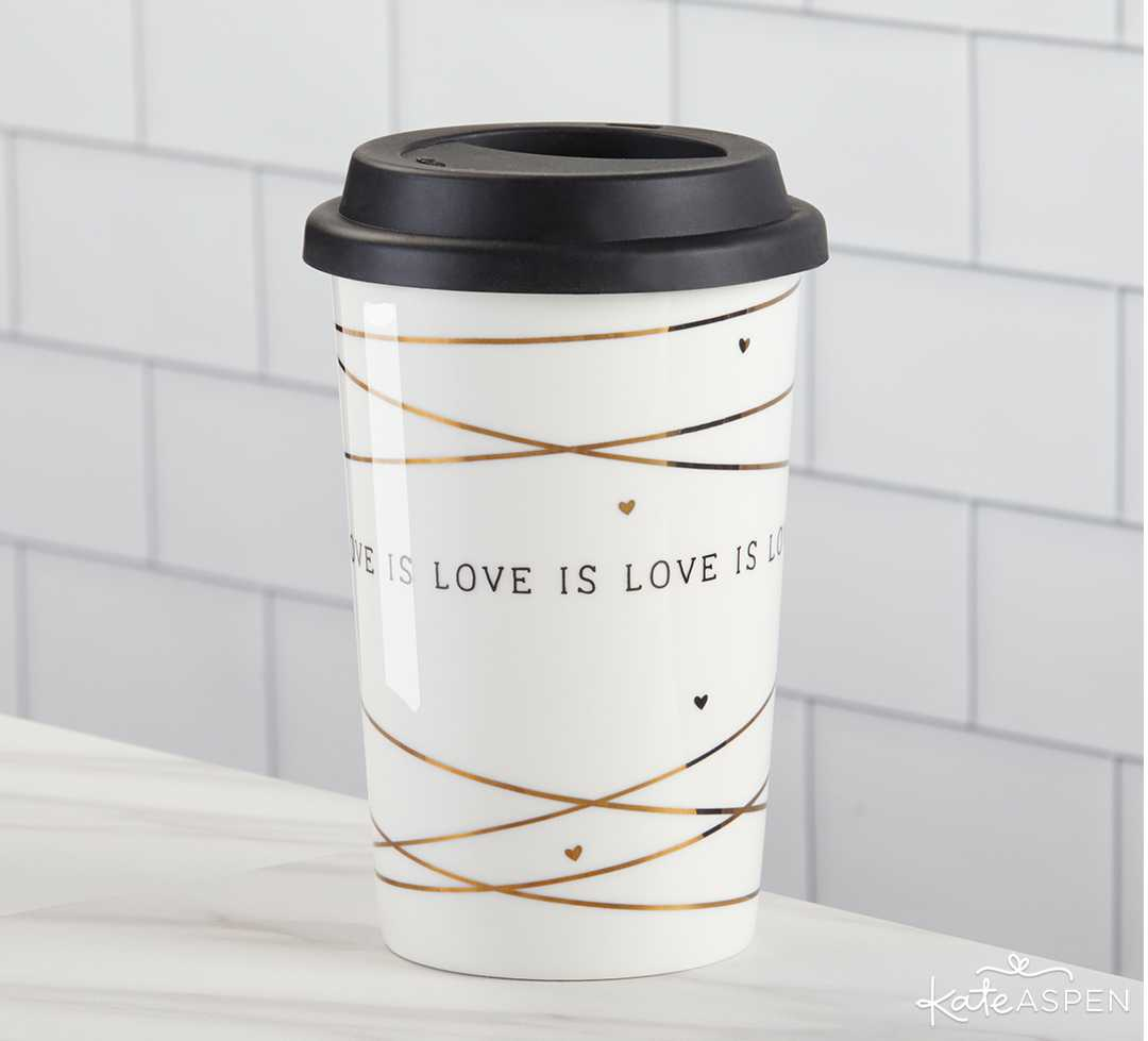 Love is Love Ceramic Coffee Mug | 10 Gift Ideas for Your Wedding Party | Kate Aspen