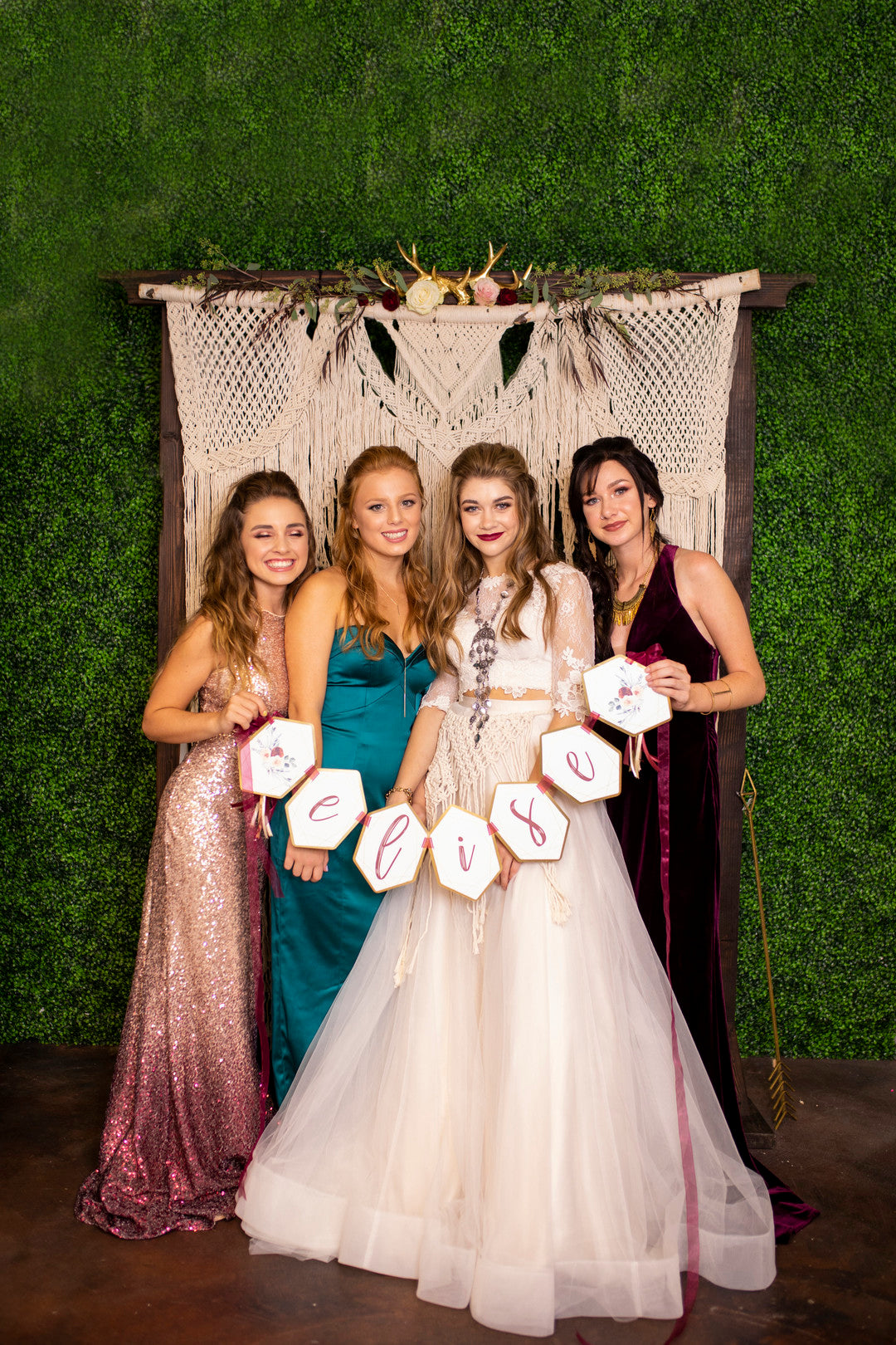 Girls In Front Of Backdrop | A Super Bohemian Sweet 16 Soiree | Kate Aspen