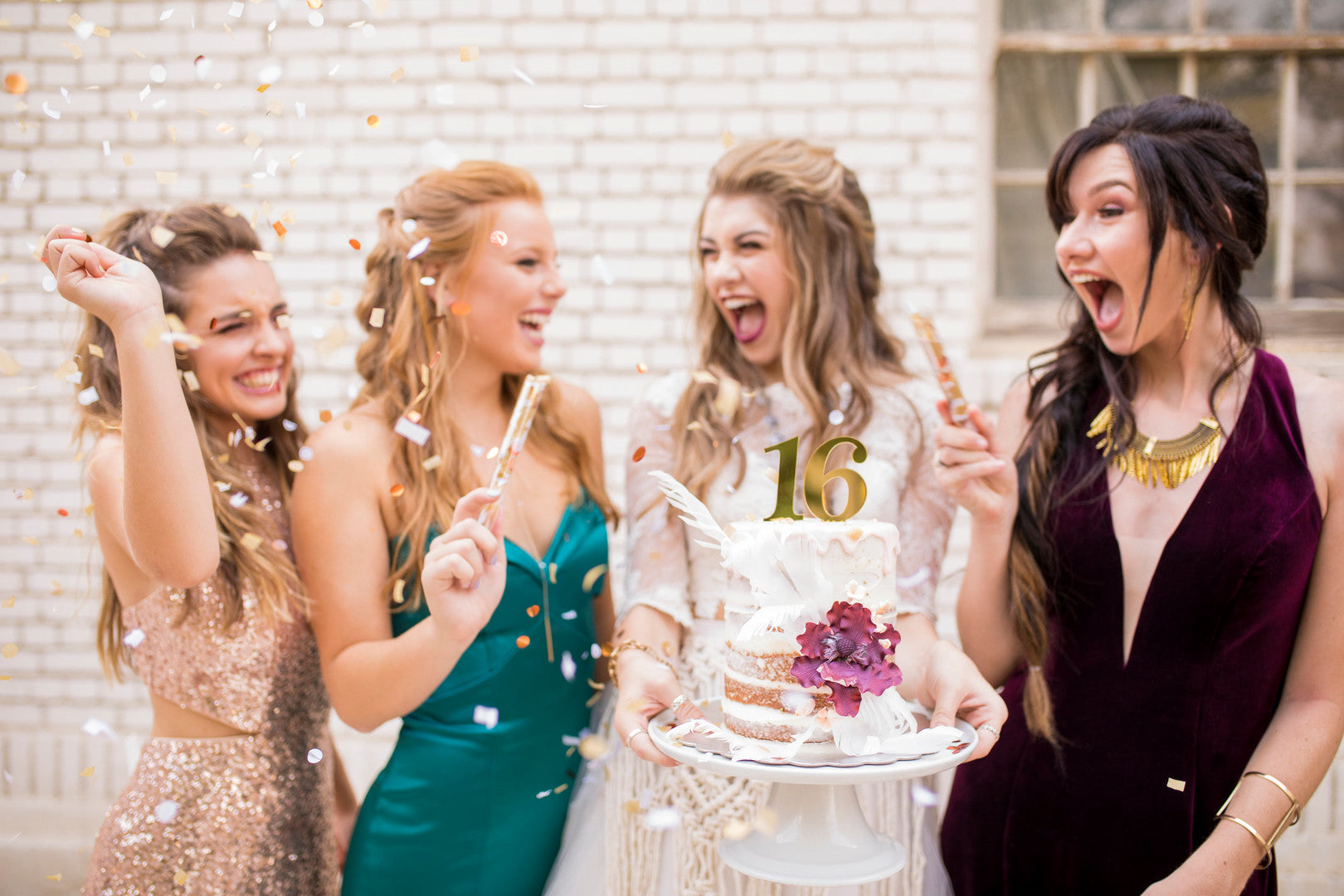 Girls Celebrating With Cake | A Super Bohemian Sweet 16 Soiree | Kate Aspen