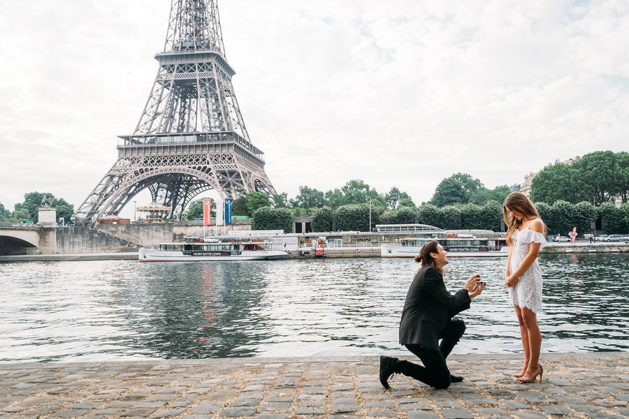 Man Proposing to Woman by Eiffel Tower | 5 Unique and Adorable Engagements | Kate Aspen
