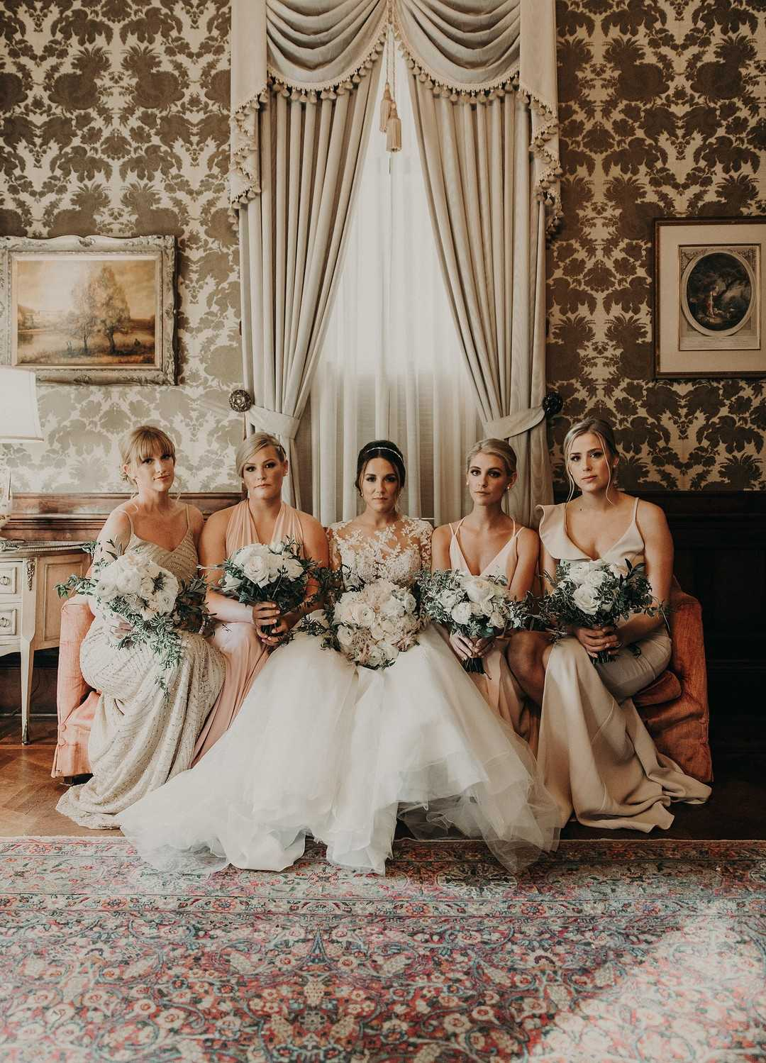 Bride and Her Bridesmaids | 2 Over the Top Rooftop weddings | Kate Aspen