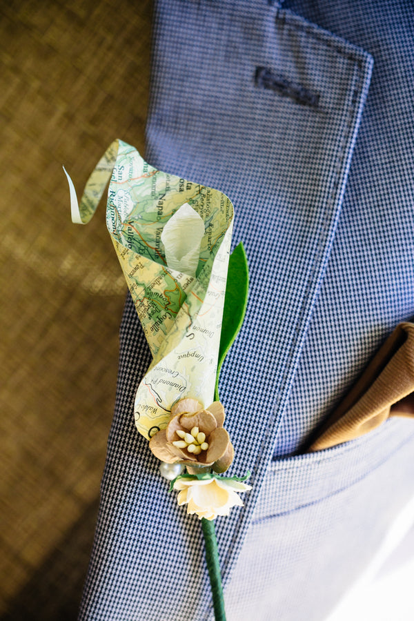 Map Boutonniere Offbeat Bride