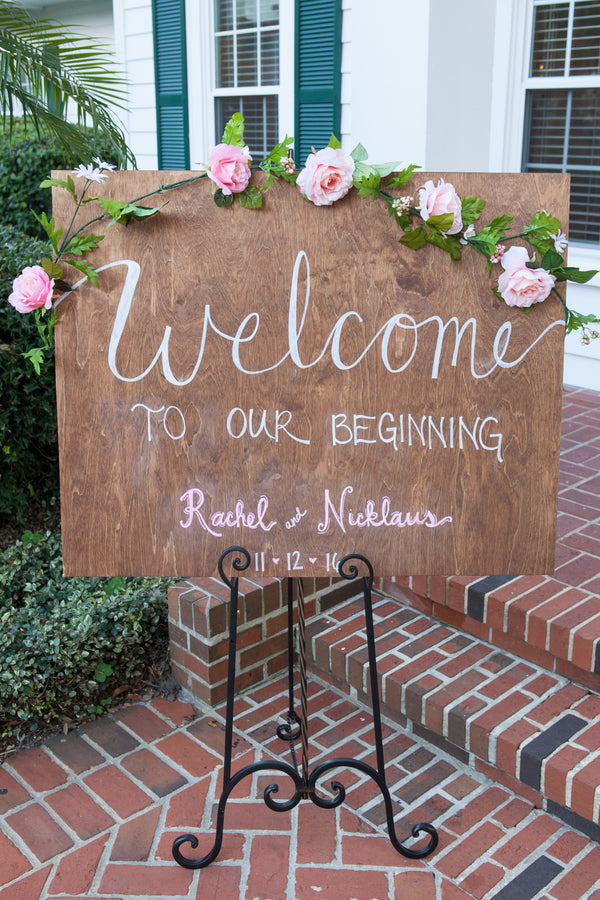 Welcome Sign | An Elegant Rose Colored Wedding | Corner House Photography | Kate Aspen