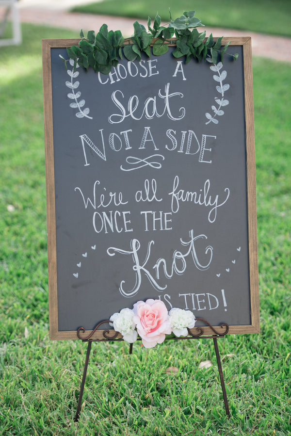 Choose a seat not a side | An Elegant Rose Colored Wedding | Corner House Photography | Kate Aspen