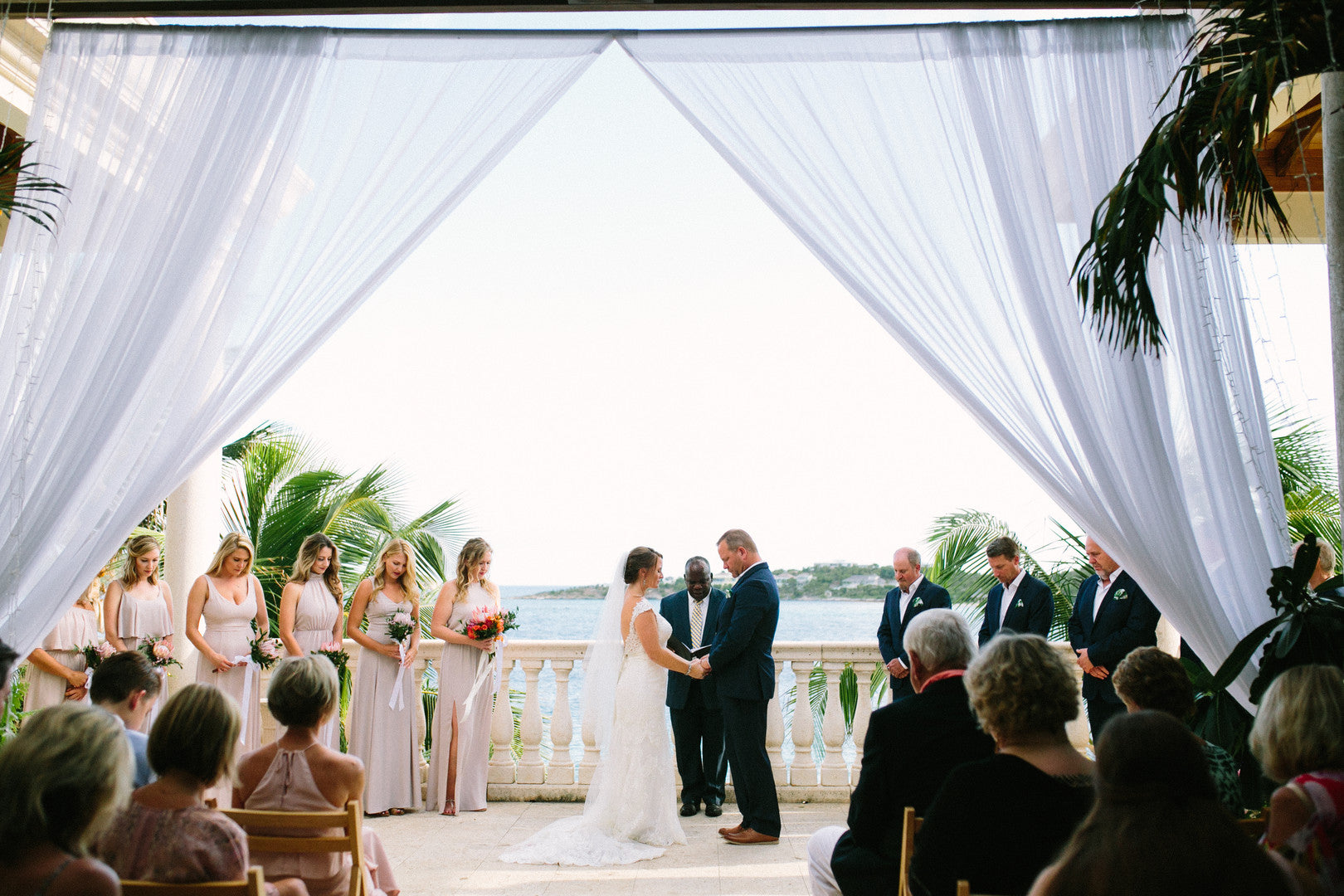 Bride and Groom at Alter | A Dreamy Destination Wedding at St. Thomas | Kate Aspen
