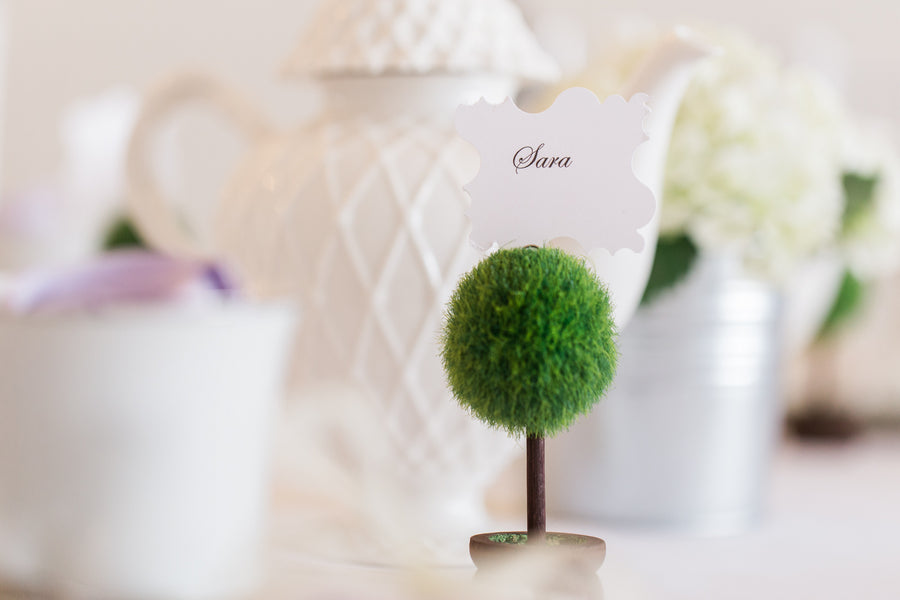 Topiary Place Card Holder | Lavender Kitchen Themed Bridal Shower Captured by Irving Photography