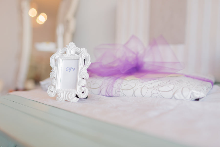 Bridal Shower Gift Table | Lavender Kitchen Themed Bridal Shower Captured by Irving Photography