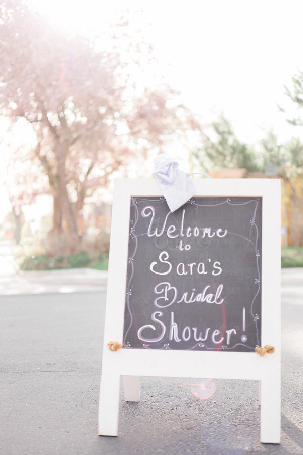 Chalkboard Sign | Lavender Kitchen Themed Bridal Shower Captured by Irving Photography