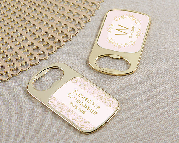 Modern Romance Personalized Gold Bottle Opener | Pretty Pink Favors For Your Romantic Wedding | Kate Aspen