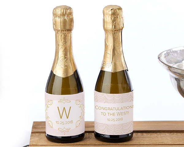 Modern Romance Personalized Mini Wine Bottle Labels | Pretty Pink Favors For Your Romantic Wedding | Kate Aspen