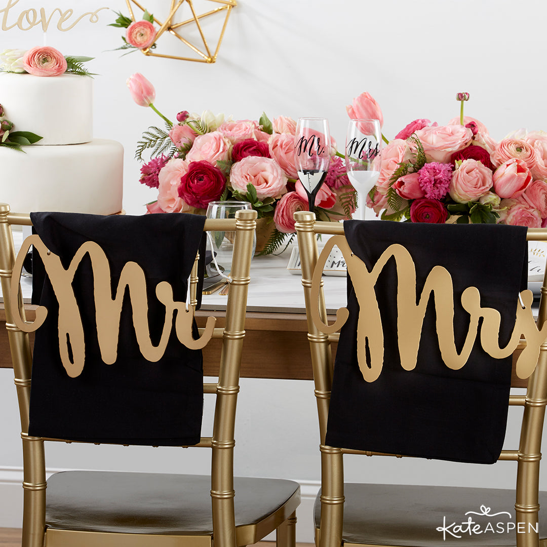 Mr. and Mrs. Chair Backers | Ideas to Modernize Your Classic Wedding | Kate Aspen Blog