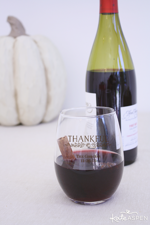 Mulled Wine in Customized Thanksgiving Wine Glasses | @KateAspen