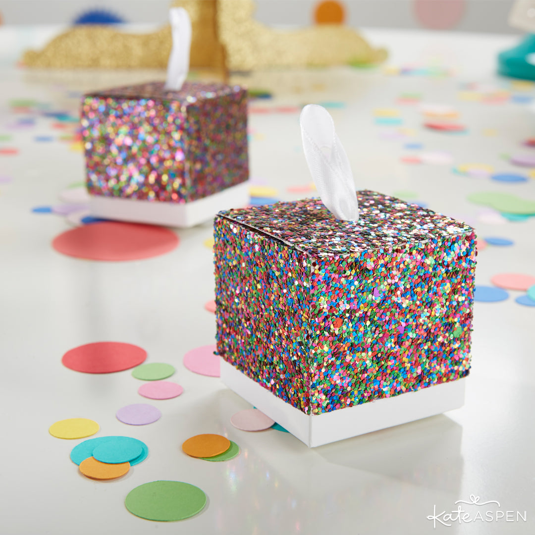 Multicolor Glitter Favor Box | 10 Glittering Party Favors and Decorations For All Occasions | Kate Aspen