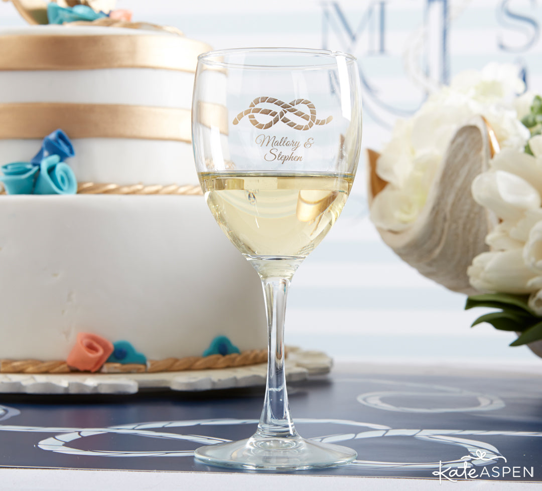 Nautical Stemmed Wine Glass | Anchors Away For a Nautical Wedding | Kate Aspen