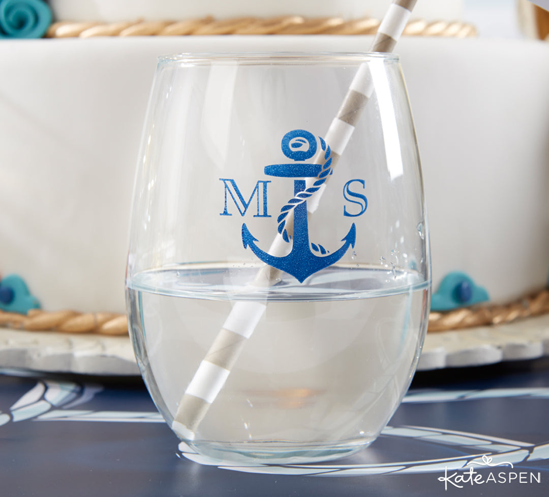 Nautical Wine Glass | Anchors Away For a Nautical Wedding | Kate Aspen