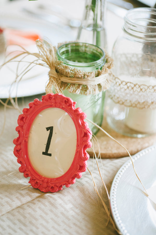 Coral table number frame | Lemon Twist Images