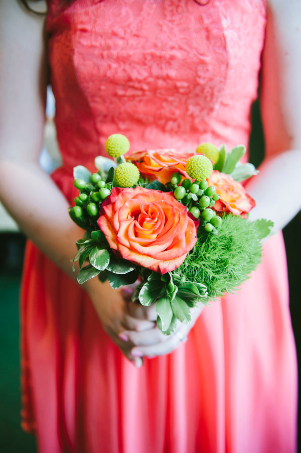 Bridesmaid in coral dress | Lemon Twist Images