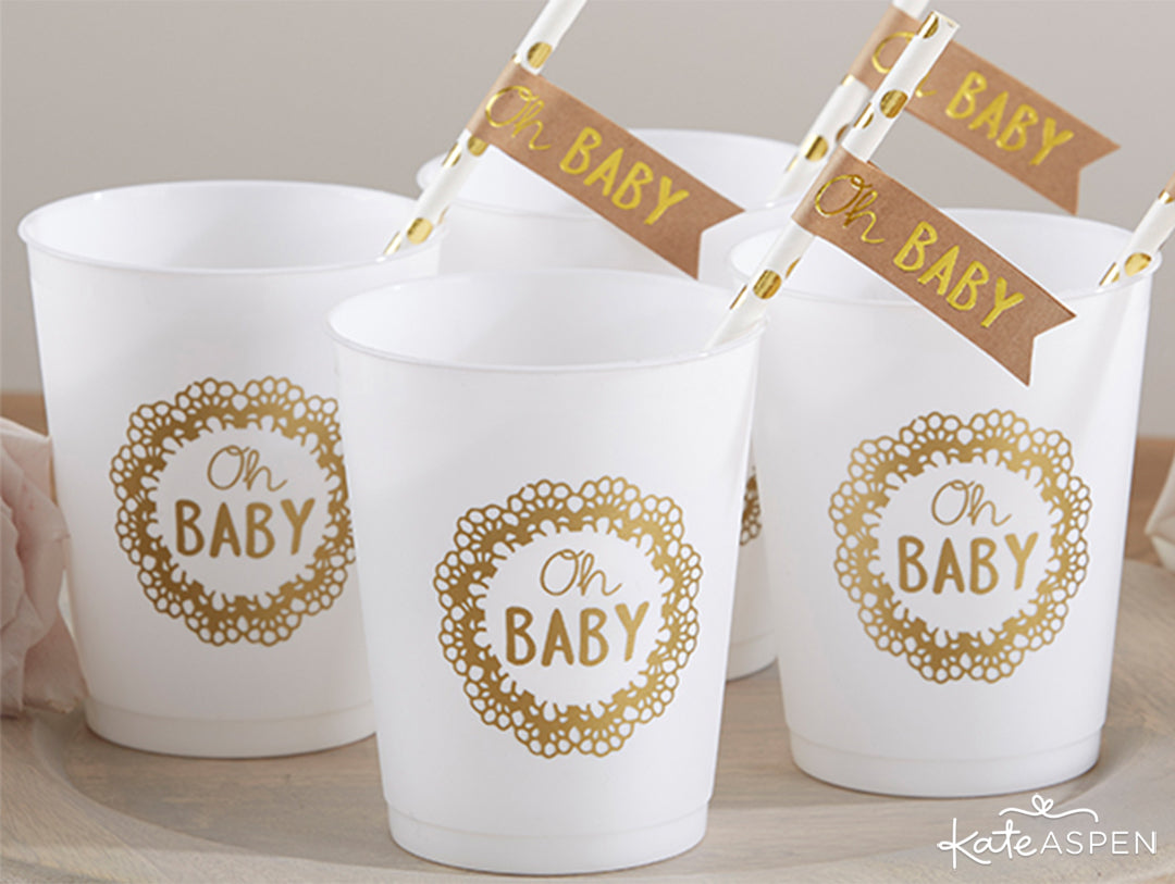 Oh Baby Rustic Baby Shower 73 Piece Set Cups and Straw Flags | Rustic Baby Shower | Kate Aspen