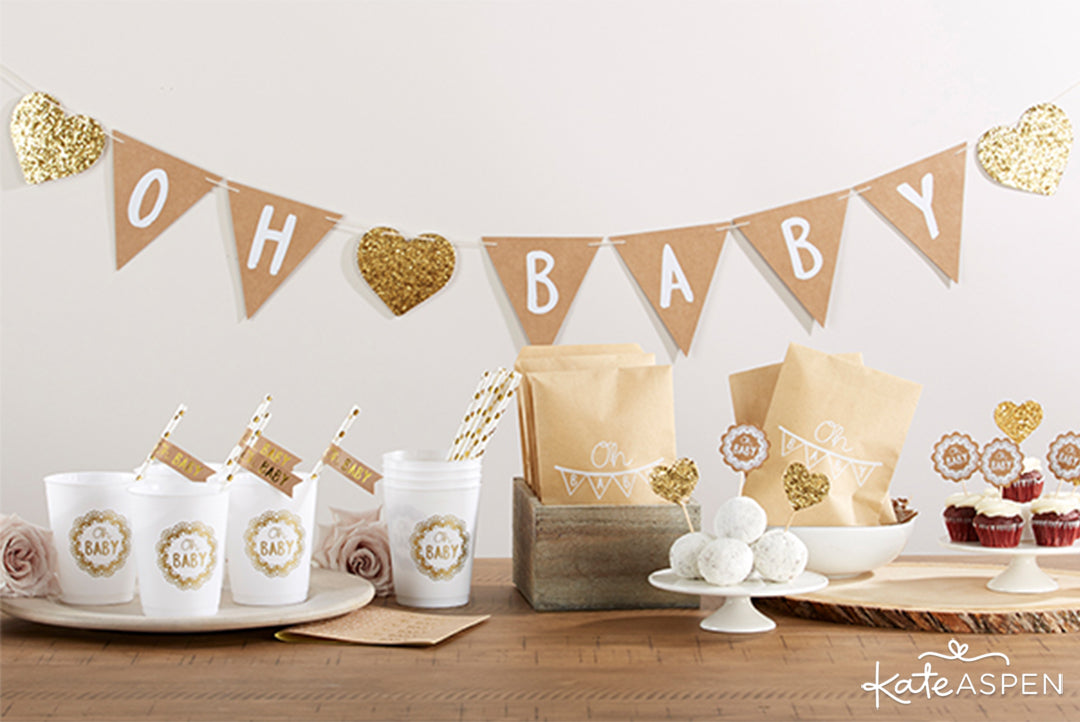 Oh Baby Rustic Baby Shower 73 Piece Set | Rustic Baby Shower | Kate Aspen
