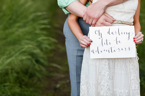 Calligraphy Sign Boho Engagement Shoot | Rebecca Anne Photography