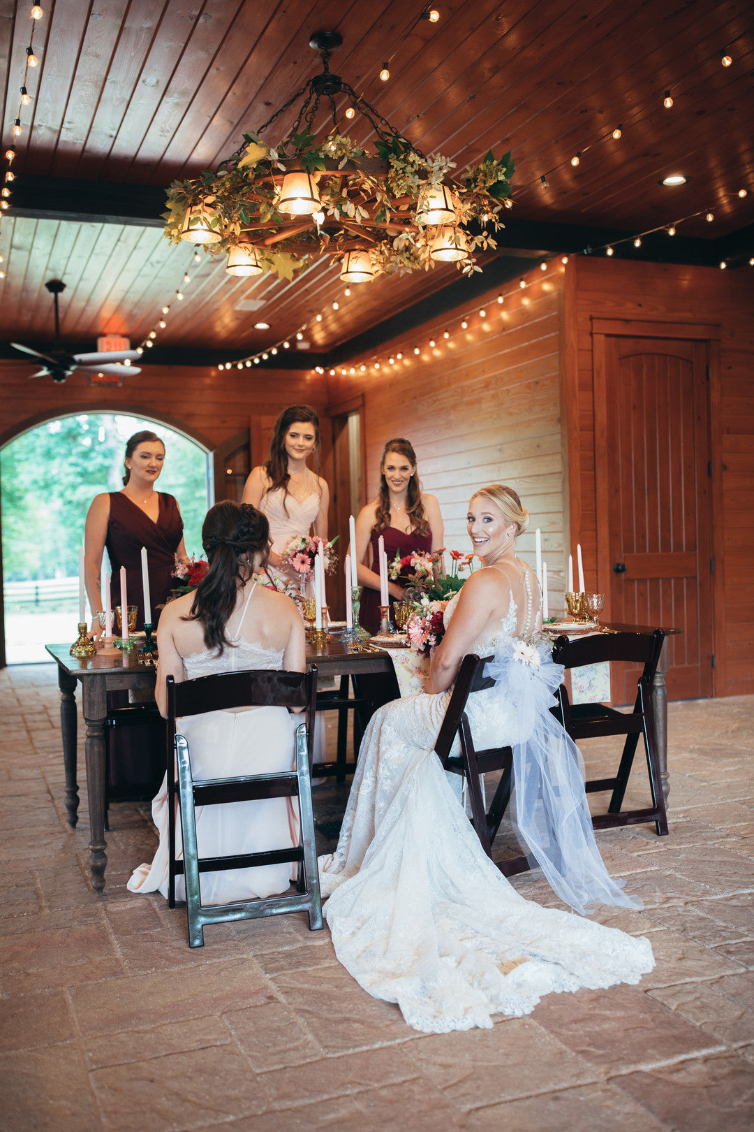 Bride and Bridesmaids at Table | Girls Just Want to Have Fun Bridal Shower | Kate Aspen