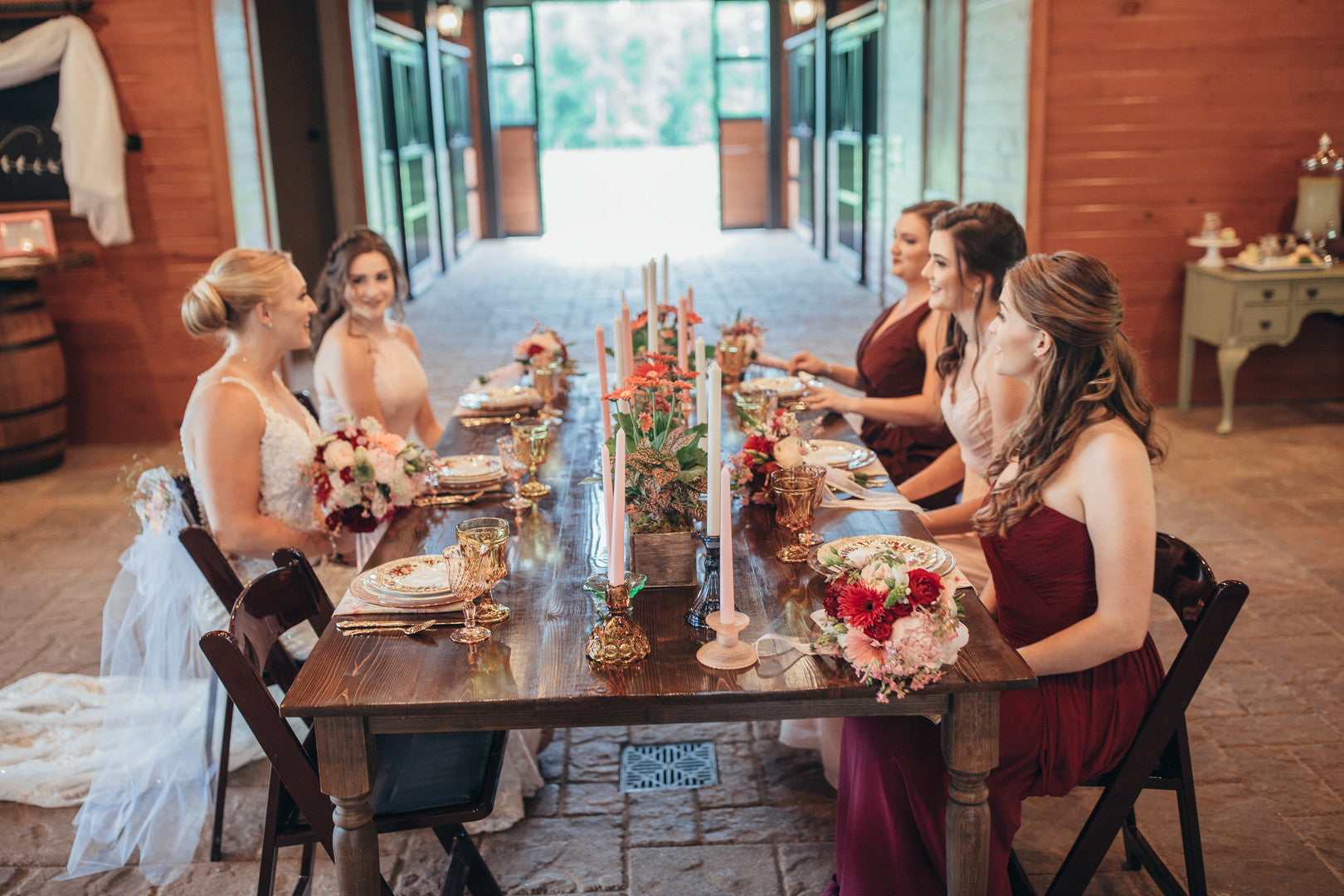 Bride and Bridesmaids Talking | Girls Just Want to Have Fun Bridal Shower | Kate Aspen