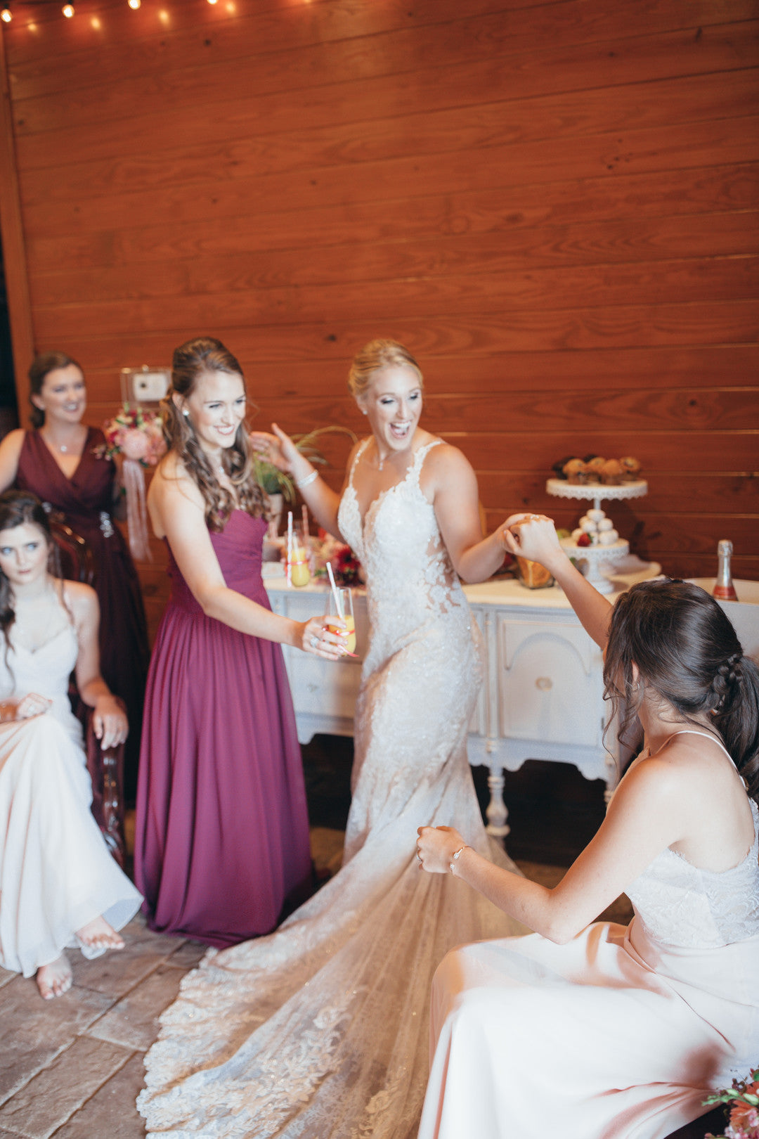 Bride Dancing With Bridesmaids | Girls Just Want to Have Fun Bridal Shower | Kate Aspen